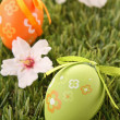 Foto Stock: Painted colorful easter egg on green grass