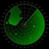 Radar screen with targets — Stock Vector