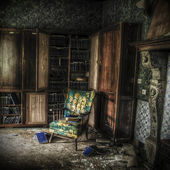 Library in an abandoned complex — Stock Photo