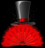 Black top-hat and red feathers fan — Stock Vector