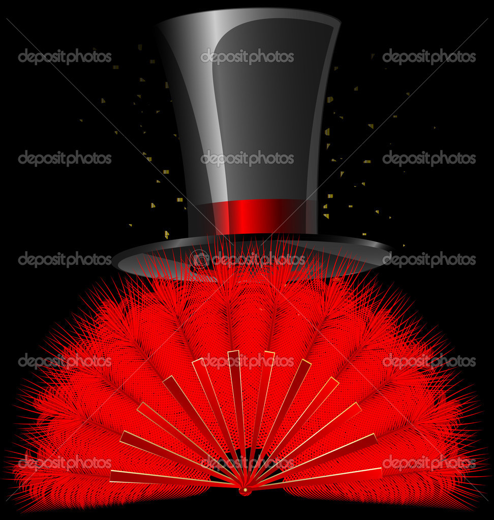 On a dark background are red feathres fan and old-fashioned top-hat — Stock Vector #10610944