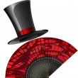Stock Vector: Black top-hat and red fan
