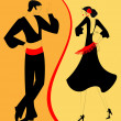 Silhouette couple of flamenco dancer — Stock Vector