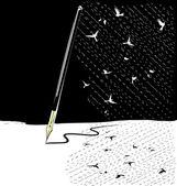 Abstract black-white write pen — Stock Vector