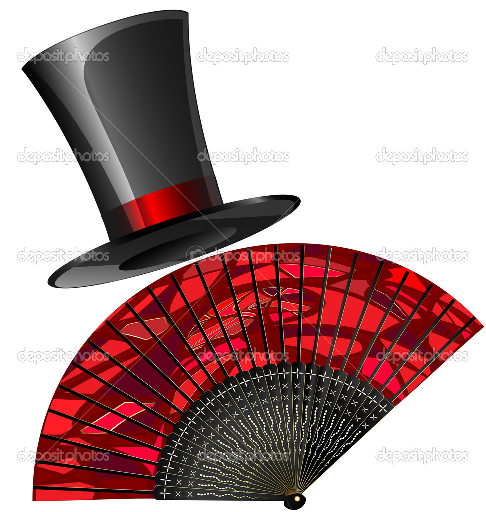 On a white background are red fan and old-fashioned top-hat — Stock vektor #10690478
