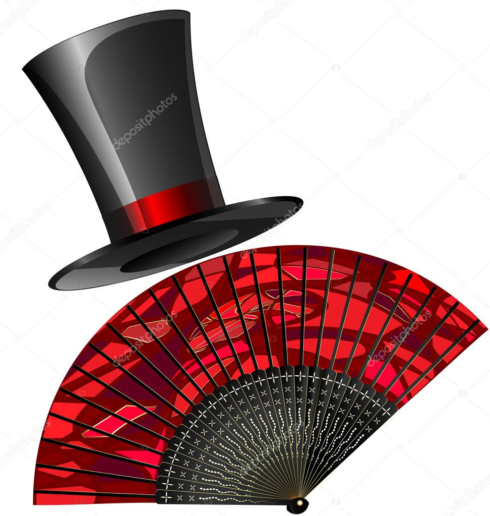 On a white background are red fan and old-fashioned top-hat — Stock Vector #10690478
