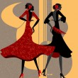 Two flamenco dancers - Stock Vector