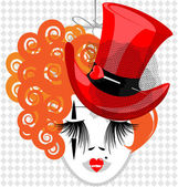 Image of an eccentric dame in red hat — Stock Vector