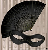 Old mask and fan — Stock Vector