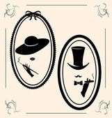 Vintage woman's and man's image — Vector de stock