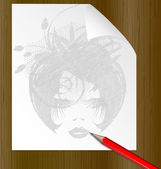 Pencil and the image of a dame — Vector de stock