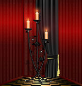 Red room and black chandelier — Stock Vector
