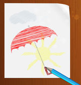 Pencil drawing on paper in the rain — Stock Vector