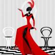 Señora fumar en rojo — Vector de stock