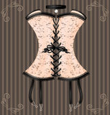 Lady's beige corset — Stock Vector