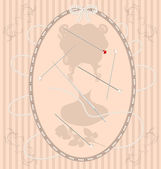 Vintage beige background with beads needle and pin — Stock Vector