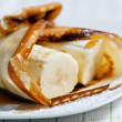 Pancake with banana and maple syrup — Foto de Stock