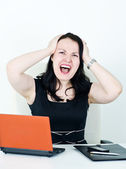 Business woman screaming — Stock Photo