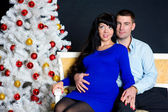 Pregnant couple with christmas tree — Stock Photo