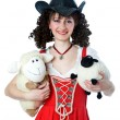 Beautiful woman in cowboy hat with the toys — Stock Photo #9266022