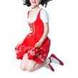 Woman in the red dress jumping — Stock Photo #9266273