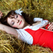 Royalty-Free Stock Photo: Beautiful woman sleeping on the hay