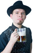 Man with mag of beer licking lips — Stock Photo