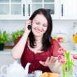 Happy woman talking on phone — Stock Photo #9643498