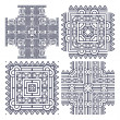 Set aztec ornaments - Stok Vektör