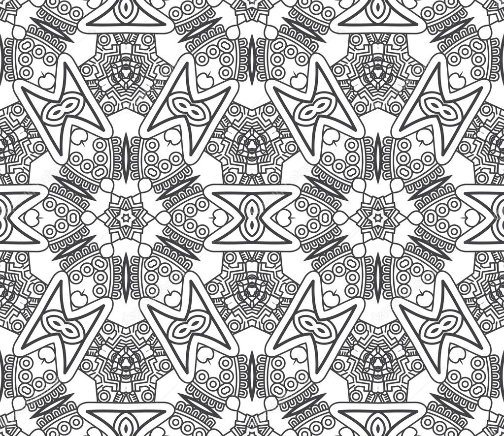 Black And White Aztec Pattern Wallpaper Seamless background with aztec