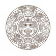 Stock Vector: Stylized Aztec Calendar