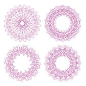Set of vector pink guilloche rosettes — Stock Vector