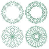 Set of green vector guilloche rosettes — ストックベクタ