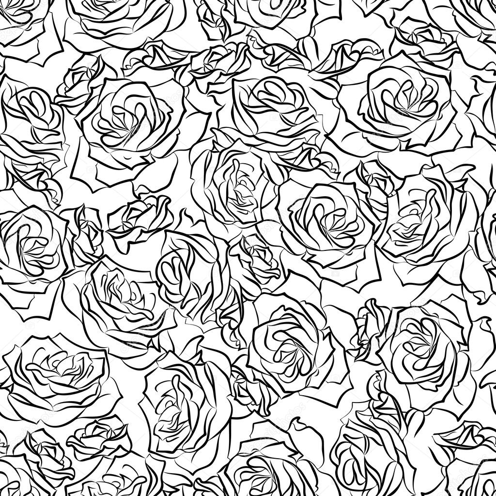 Seamless floral pattern of black roses on a white background, vector  Stock Vector #8827259