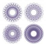 Set of vector guilloche rosettes — Stock Vector
