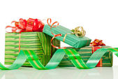 Christmas presents against white background — Stockfoto