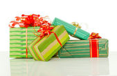 Christmas presents against white background — Stok fotoğraf