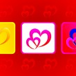 Two hearts illustration in three variations against red backgrou — Stock Photo #8409446
