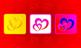 Two hearts illustration in three variations against red backgrou — Stock Photo