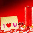 St. Valentine's day greeting background with four burning candle — Stock Photo