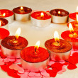 Many burning candles in a form of heart — Stock Photo