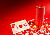 St. Valentine's day greeting background with four burning candle — Stockfoto