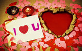 St. Valentine's day greeting background with two burning candles — Stock Photo