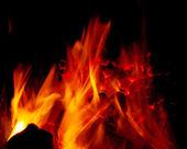 Burning coal in a furnace — Stock Photo
