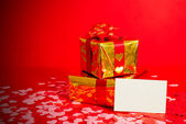 Two presents and blank card — Stock Photo