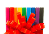 Row of colorful books' spines — Stock Photo