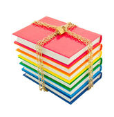 Colorful books tied up with chains — Stockfoto