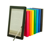 E-book reader with stack of printed books — Stock Photo