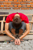 Man tied up with rope — Stock Photo