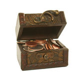 Brown box full of coins — Stock Photo